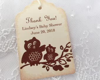 Owl Personalized Baby Shower Tags Thank You Favor Tags Set of 10