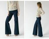 1970s Bell Bottom High Waist Jeans- 29, Flares, Indigo Wideleg, GWG, Dark Wash Denim, HIppie Boho