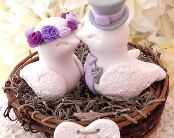 Rustic Love Bird Wedding Cake Topper -White, Gray, Lilac and Plum, Love Birds in Nest - Personalized Heart