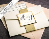 "Gold Glitter Wedding Invitation,  Modern Wedding Invitations, Blush and Navy Invitation, Cream Pocket Invite - ""Whimsical Calligraphy"" PF-1L"