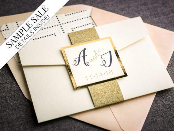 like this item - Gold Glitter Wedding Invitations