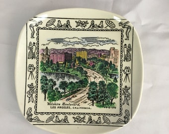 Vintage Royal Pottery Collectors Plate - Wilshire Blvd (White)