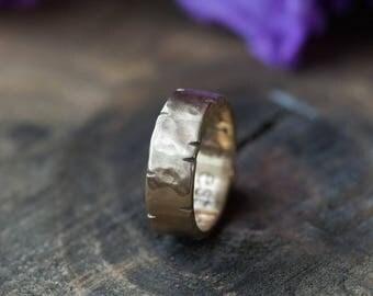 Men's Hammered Wedding Band 14k Gold 6mm - Rustic Ring - Men's Wedding Ring - Unique Wedding Ring  Unisex Wedding Band Rustic Wedding Band
