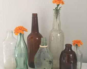 Vintage apothecary bottles, vintage glass bottles, antique glass vases, Vintage Glass Pepsi Bottle, Vintage Glass Coke Bottle