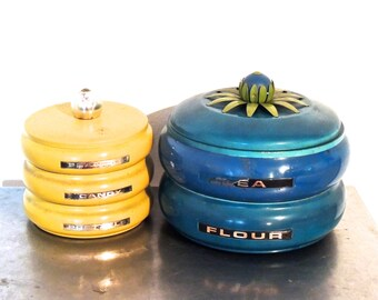 vintage stacking metal canisters - 1940s-50s mid century metal canister set