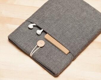 iPad sleeve, iPad case, iPad Pro 9.7 case, iPad Air 2 sleeve, plain  - Frannel grey