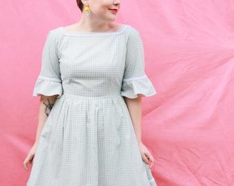 Blue Check Retro Dress - One Off - Handmade by Alice!