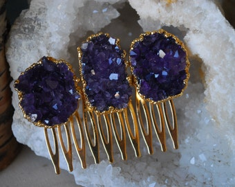 AMETHYST HAIR COMBS /// 24kt Gold Electroformed Hair Combs