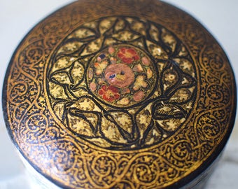 Vintage Kashmiri Paper Mache Trinket Box Hand Painted Flowers India