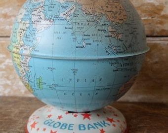 Vintage World Globe  Bank Tin Small