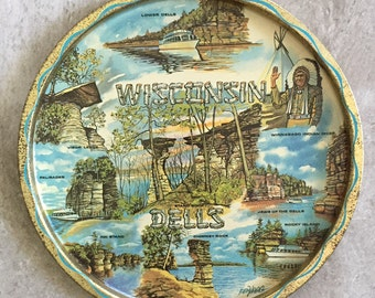 Vintage Wisconsin State Souvenirs Trays