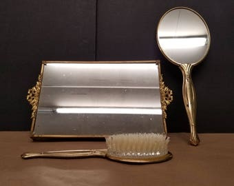 Gold Plated 3 Piece Vanity Set