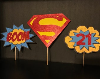 Superman Birthday Party Cake Toppers Picks 3 Piece Set