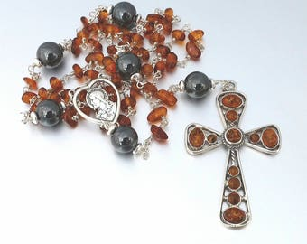 Sterling Silver Baltic Amber and Hematite Catholic Rosary