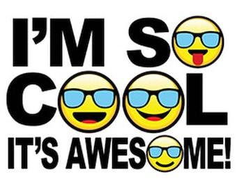 Emoji Im So Cool Its Awesome Womens Short Sleeve T Shirt 21134HD4