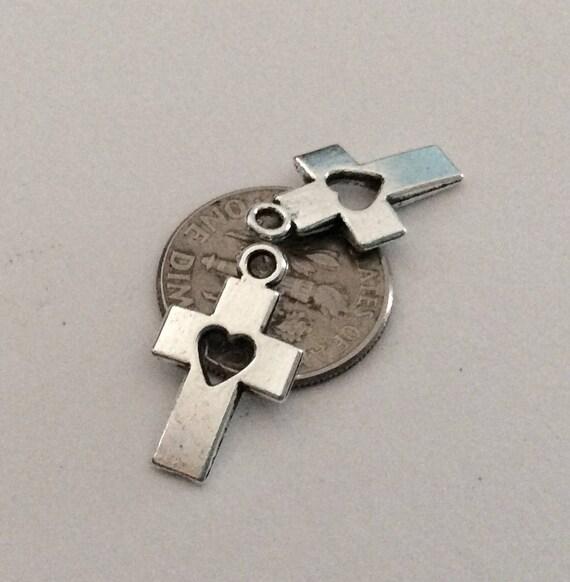 10 Small Cutout Heart Silver Cross Pendants Cross