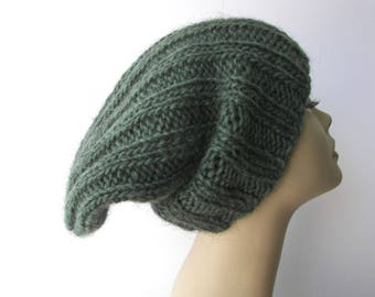 ICELANDIC WOOL Chunky HAND Knit Beanie Ski Hat in Sage Green/ Lopi yarn Knit Slouch hat