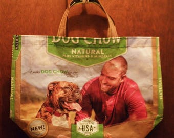 NEW LOW PRICE, Small Tote, Recycled Upcycled Repurposed from Purina Dog Food Bag