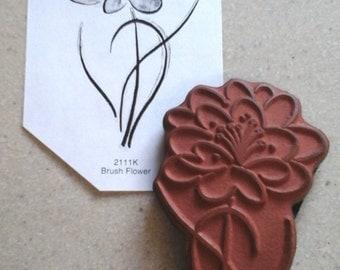 Penny Black Unmounted Rubber Stamp # 2111 K Brush Flower USED Artist studio stamp