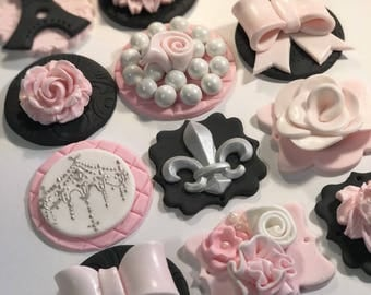 Paris inspired Pink, Black, Silver and White  Fondant Cupcake, Cake, Cookies Toppers Set of 12