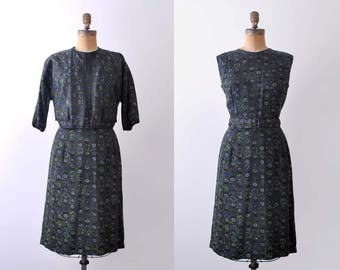 1960 dark green dress & jacket. m. 60's floral dress. sheath. belt. navy blue print.