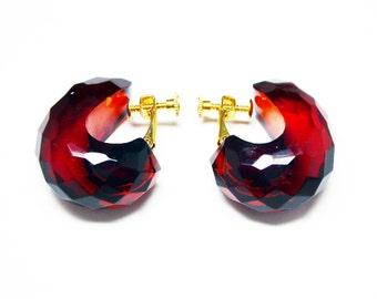 Cherry Bakelite Hoop Earrings - Faceted Cherry Amber - Tested Positive - Tear Drop Hoops - Comfort Screw Clip On Earrings - Vintage 1980s