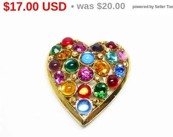 Spring Sale Vintage Scarf Clip - Rhinestone Heart Holder for Scarves - Multi Colored