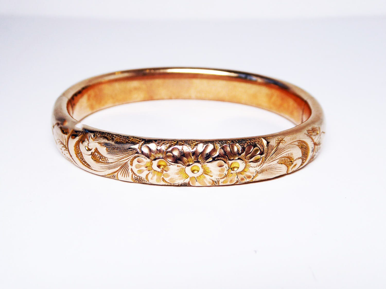 Antique Victorian Floral Bracelet Signed 12k Gold Filled