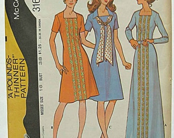 Vintage 70's Misses' Dress in 2 Lengths and Scarf, Maxi Dress McCall's 3165 Sewing Pattern Size 16, Bust 38""