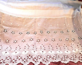 Antique Fabric and Lace Petticoat Edwardian Petticoat cotton Lace  Remnant