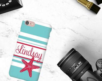 Personalized Phone Case Starfish Stripes Custom Monogrammed Phone Case iPhone Case iPhone 7 Case Phone Case Nautical Beach Phone Case