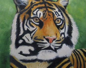 Tiger Painting Tiger on Canvas Hand Painted Tiger Oil Painting African Wildlife Art Tiger Original Oil Kids Decor Karen Snider Free Shipping