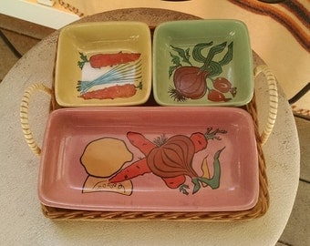 Colorful Pottery Dip Server and Wooden Tray with Handles Germany #15 Colorful Veggie Themed Appetizer Dishes Picnic Server