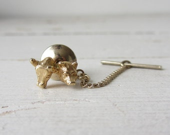Vintage Goldtone Bull and Bear Tie Tack