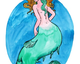 Custom Mermaid Portrait - A4 - made to order