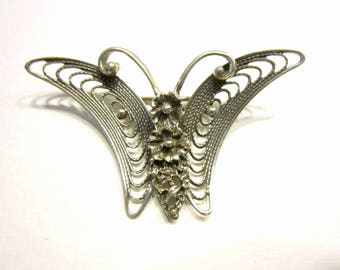 Vintage Sterling Filigree Butterfly Brooch Signed Beau Sterling Pin Silver Figural Jewelry Gift for Her Gift Idea Under 25