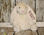 Monogrammed Easter Bunny - Cream Rabbit - Personalized Plush Rabbit