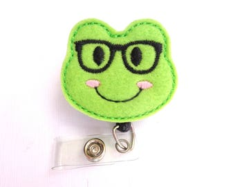 Retractable badge holder - Nerdy Frog lime green felt - nurse badge reel medical badge reel student nurse veterinarian