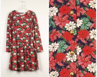large girls 14 deadstock New Red Poinsettia Christmas Dress Girl Holiday Outfit 90s Vintage drop waist floral print Christie Brooks dress