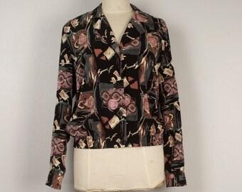 Scarf Print 80s 90s Vintage Bomber Jacket Oversize lightweight Jacket black tan gray abstract floral pattern jacket medium large