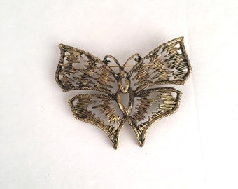 Large Vintage Butterfly Brooch 80s Vintage Antiqued Gold Tone Animal Insect Moth Filigree Pin