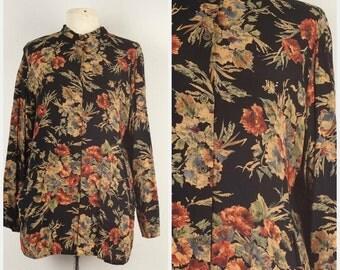 Black Floral Blouse Long Tan and Rust Print Smock Top Mandarin Collar Lightweight unstructured Long Sleeve jacket Carole Little 44 bust