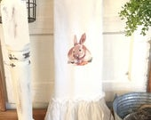 Easter Rabbit FlourSack | Ruffled Towels | TeaTowel | Farmhouse Towel | Easter Decor | Cottage Home | FlourSack Towel | Ruffled FlourSack