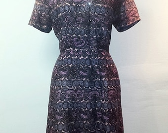 TURKEY DAY SALE Vintage 1950s Wiggle Dress - Mixed Purples and Pinks