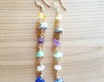 Long Mixed Gemstone Earrings
