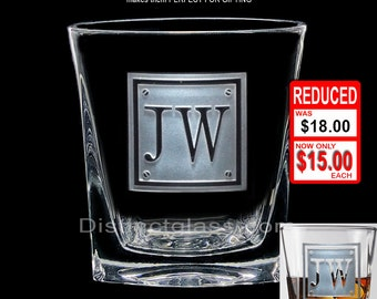 Personalized SCOTCH WHISKEY Rye Glasses - 12oz MONOGRAM Initial Cocktail Etched Glass - Initials Monogrammed - Ships to Canada & U.S.A.