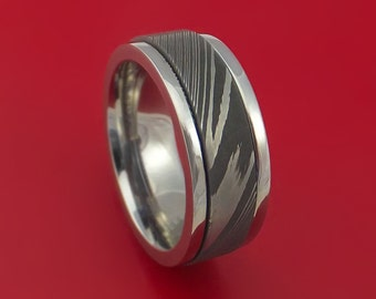 Damascus Steel  and Titanium Spinner Ring Custom Made Band