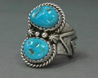 Mans Turquoise ring  Sleeping Beauty  Mine size 12-13   Jim Saunders artist , RG-553