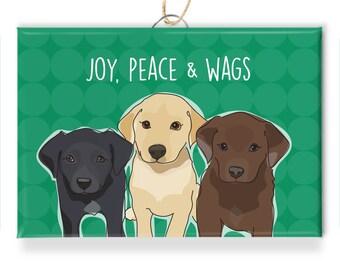 Labrador Retriever Dog Christmas Ornaments - Joy Peace and Wags