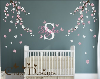 Custom Wall Decal, Cherry Blossom Branches, Custom Monogram, Custom Name, Butterflies, Wall Decal, Wall Sticker